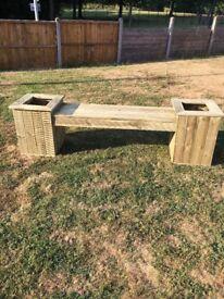 Wooden garden decking bench