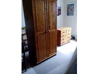 Double pine wardrobe with additional removeable storage box