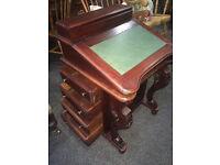 Marvellous Vintage Carved Mahogany Davenport Desk Captain's Ship Writing Desk