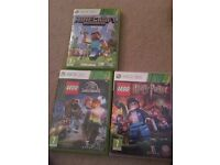 Xbox 360 minecraft, Jurassic park & Harry Potter Lego game