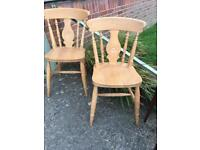 Pair Of solid beech fiddle back dining kitchen Chairs vgc