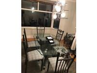Glass dining room table 6 x chairs