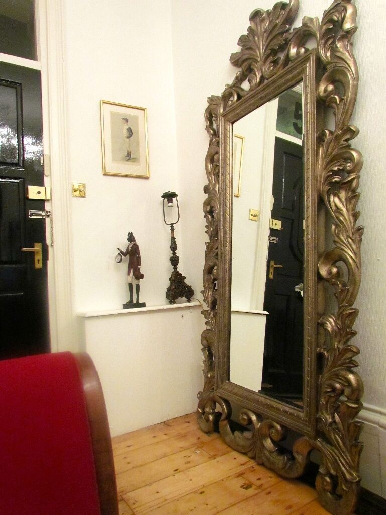 Huge French Rococo Style Wall Or Floor Mirror From