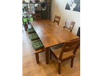 NICE OAK DINING TABLE - LIGHT WOOD - 4 CHAIRS + 1 BENCH