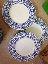 3 x meakin blue and white Dinner plates