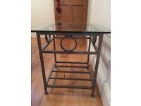 Bespoke Glass & Steel Lamp/Side Table