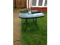 Garden table and 4 chairs glass top blue