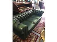 Green leather roll back chesterfield three seater sofa also have club chairs
