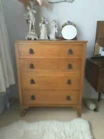 Lovely solid oak vintage chest of drawers with cherub handles