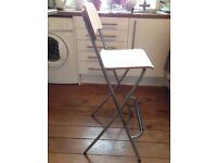 Bar stool with backrest, foldable FRANKLIN white/silver IKEA