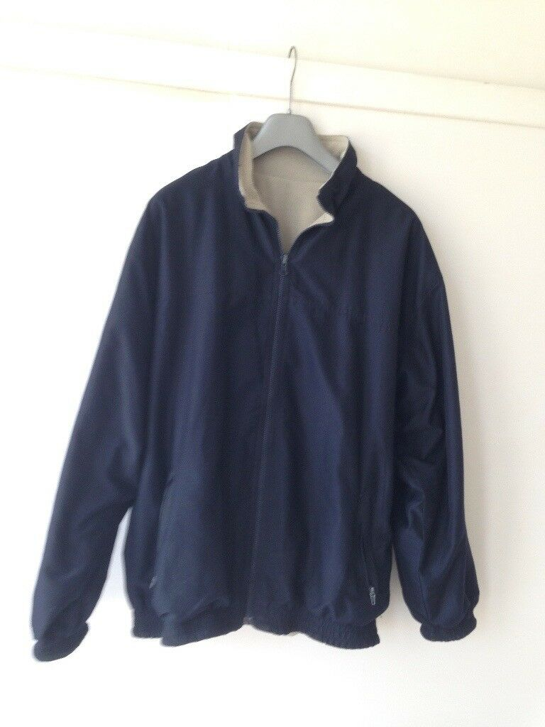 Mens Jacket Coat Navy Blue/ Cream Large Reversible Fleece Large