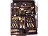 70 Piece Besteke Solingen 23 k Gold Plate Canteen of Cutlery