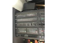 Toshiba record, amplifier and cassette player with speakers