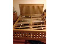 Elegant solid oak bed frame, king size, great condition, with solid oak slats