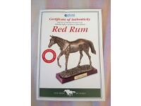 Famous enough red rum horse statue in sports kings box with certificate
