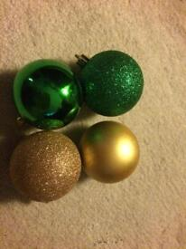 Gold & green Christmas baubles