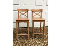 Pair IKEA pine bar stools for sale