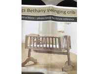 Siblings White swinging Crib with mattress