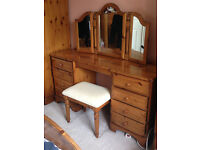 Ducal Victoria Pine 8 Drawer Dressing Table, 3 Leaf Mirror & Stool