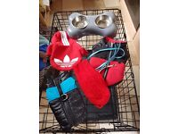 Medium crate and 3 jackets and jumper with lead and bowls for small dog