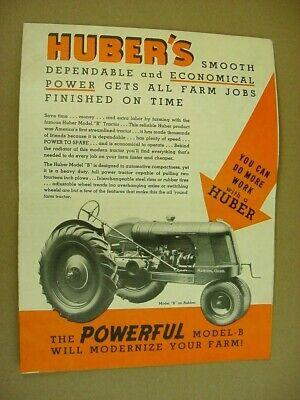 1930's era Vintage HUBER MODEL B TRACTOR Advertising Brochure Poster Sign