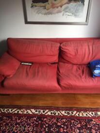 Pair of Italian B&B Flexform 4 seater sofas red