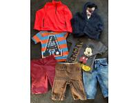 Age 8 - age 9. Clothes bundle. Nike top, 2 t shirts, 3 shirts and a blue woolly hooded jumper