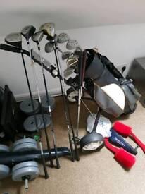 Golf clubs, trolley, bag, balls