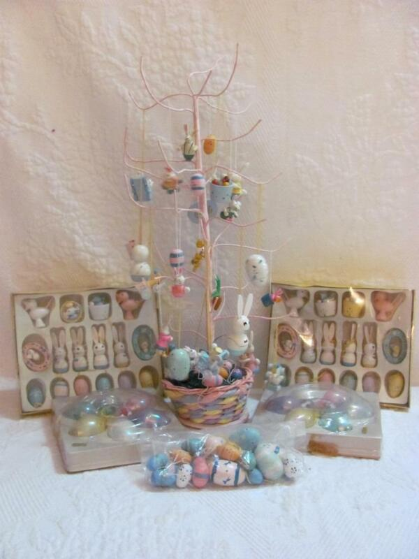 Easter Ornaments and Tree Over 100 pcs ! Vintage Wooden Eggs Large and Small