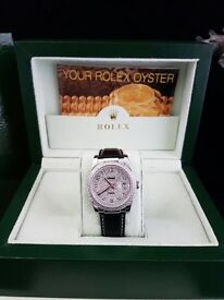 Unisex Rolex Datejust with all diamond face with all black leather strap complete with Rolex box bag