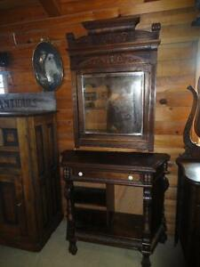 ANTIQUE SIDEBOARD WITH VERY ORNATE MIRROR