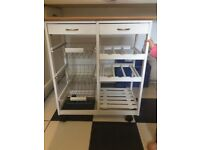 Kitchen Island - white with wood finish top *lots of storage and locking wheels