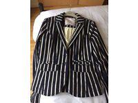 Ladies Navy/Cream striped jacket size 12