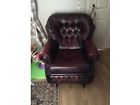 Leather Chesterfield. 3 seater sofa and rocking armchair.