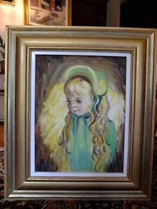 PETITE FILLE AUX CHEVEUX BLONDS / OIL PAINTING LITTLE GIRL