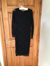 Maternity black lace dress, small.