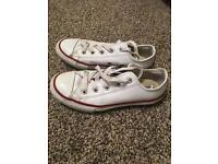 Kids white leather converse size 12