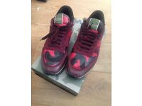 VALENTINO CAMO TRAINERS RED SIZE UK 9 STEAL