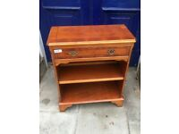 Yewwood bookcase in good condition with drawer.