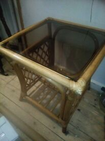 Gorgeous Bamboo coffee table, tinted glass top