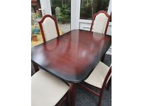 EXCELLENT DINING TABLE AND 4 SOLID WOOD AND UPHOLSTERED HIGH BACK CHAIRS