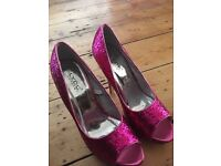 Pink glitter high heels size 4 LYDC