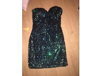 Green/blue sequin dress