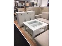 Elegant white sideboard and coffee table for sale