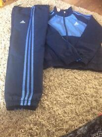 Adidas navy blue track suit age 9-10