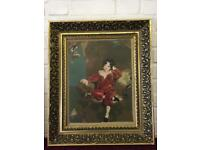 Large vintage framed completed tapestry of boy in red and blue