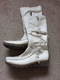 Cream leather boots