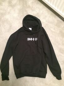 Men's SHHH hoodie, black. From Dogfish shop.