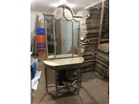 French style limed oak mirror backed hall table * free furniture delivery*