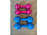 Two sets of dumbbells 1.1kg and 2.2kgs